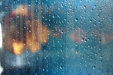 Obraz rain window autumn park branches leaves yellow / abstract autumn background, landscape in a rainy window, weather October rain - fototapety do salonu