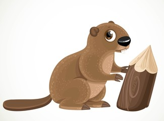 Cute cartoon beaver isolated on a white background