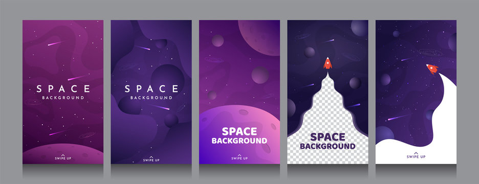Vector flat illustration with copy space. Cosmos exploration wallpaper. Element for design business cards, invitations, discount voucher, gift cards, flyers and brochures. Violet background collection