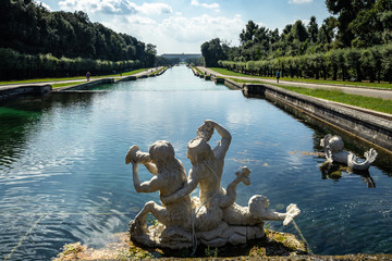 Detail of marble sculptures of the Fountain of Ceres at Caserta Royal Palace, Italy