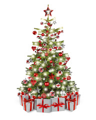 real natural nordmann xmas christmas tree with many gift present box and red silver wooden decoration. bauble star heart and bright led lights isolated white background