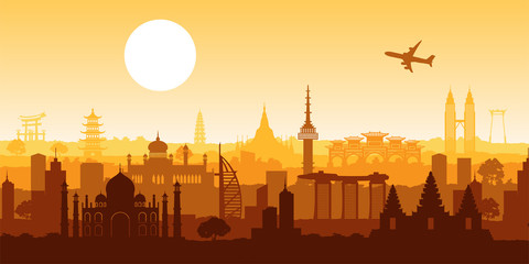 Asia famous landmark silhouette style with row design on sunset time,vector illustration