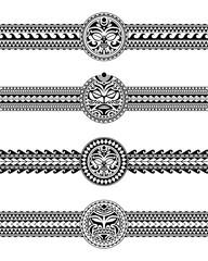 Set of maori polynesian tattoo border tribal sleeve pattern vector. Samoan bracelet tattoo design fore arm or foot. Armband tattoo tribal.