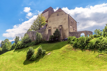 Fototapete - Sargans castle in St Gallen canton, Switzerland. This medieval castle is a Swiss landmark. Scenic view of old castle in Alps. Scenery of ancient building on hill in summer.