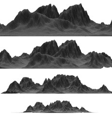 Isolated wireframe mountain graphic elements for your landscape composition designs. 4 side views in different sizes (3D renderings)