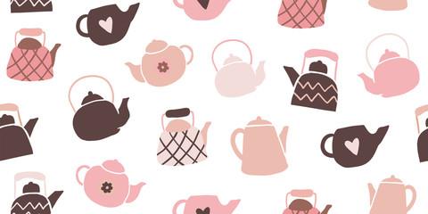 Cute tea pots seamless pattern scandinavian