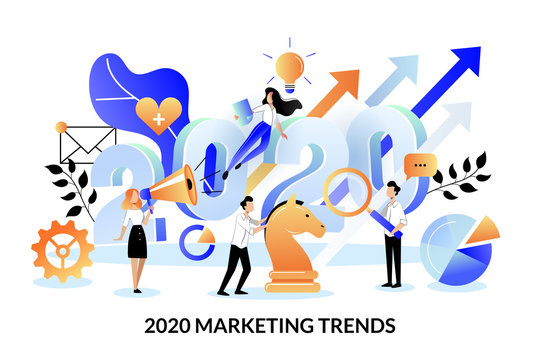 Digital marketing trends, strategy, business plan for 2020 year. Vector illustration. Expectation, perspective concept