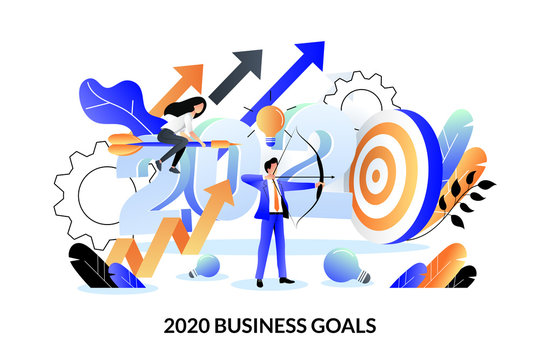 Business goals, future achievement plan for 2020 new year. Vector illustration. Expectation and perspective concept.