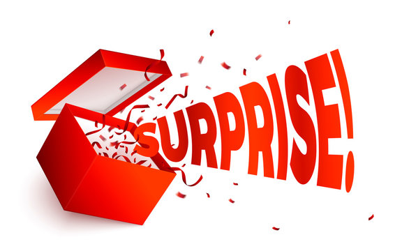 Vector realistic open red gift box, word Surprise