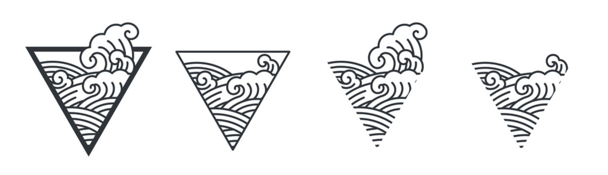 Oriental ocean wave line art illustration in triangle shape.Abstract.