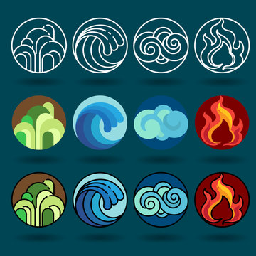 Four element icon set vector and illustration