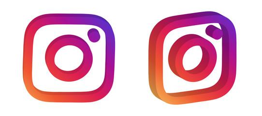 instagram editorial 3d logo vector set