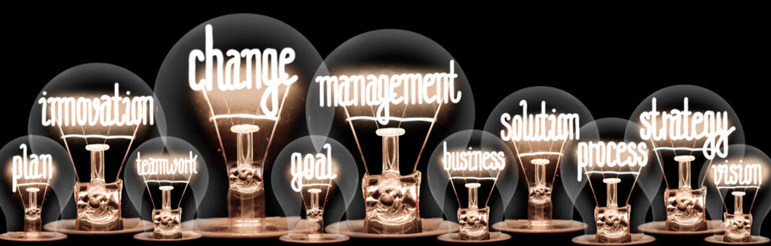 Light Bulbs with Change Management Concept