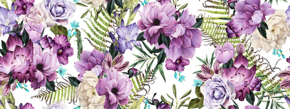 Seamless floral pattern with flowers, watercolor