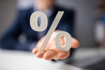 Hands Holding Percentage Symbol