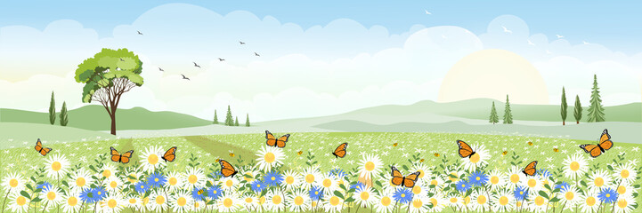 Cute cartoon panorama landscape of Spring field  with butterfly flying over daisy flowers, Lovely card of summer landscap with big tree and wild flowers field on mountains in sunny day. Wall mural