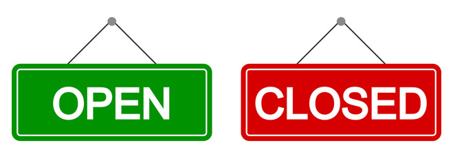 Open and closed sign set. Vector Fototapete