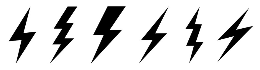 Lightning bolt icons set. Vector illustration
