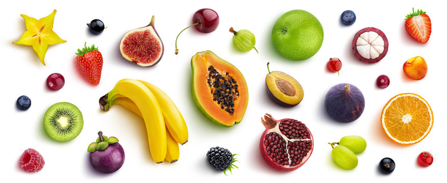 Mix of different fruits and berries, flat lay, top view