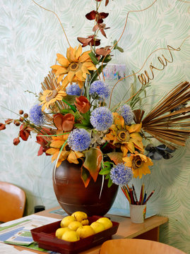 Autumn composition of wild flowers and apples