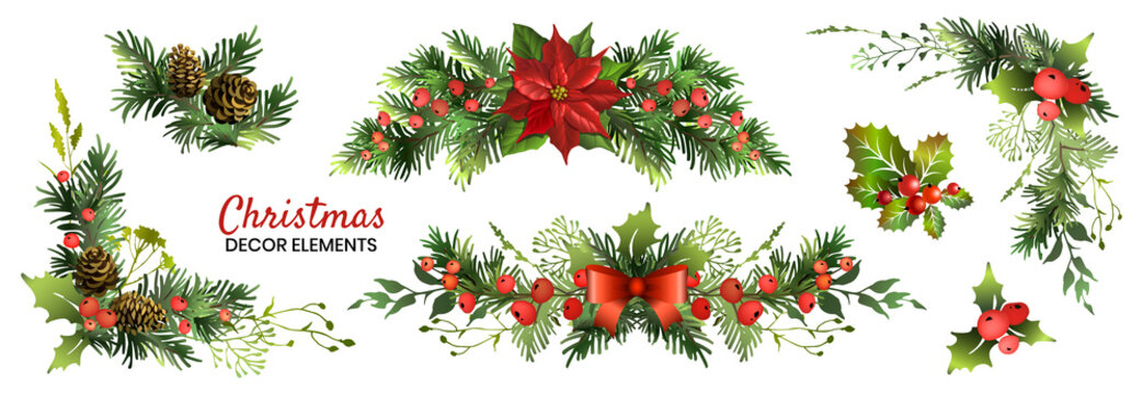 Christmas decor elements set for your design. Garland fective set. Vector illustration.