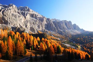 In de dag Diepbruine Amazing autumn view on Sassolungo mountain and Gardena Pass. Dolomite Alps, South Tyrol, Italy.