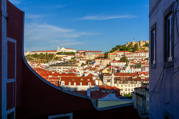 City view at evening from Calcada Do Duque street in Old town of Lisbon, top tourists attraction in Portugal
