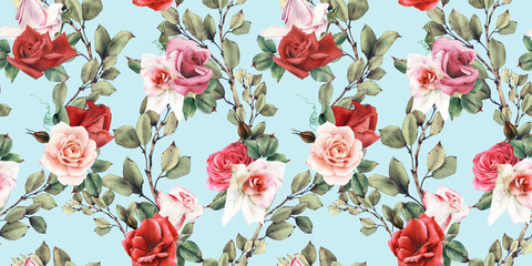 Obraz Seamless floral pattern with flowers, watercolor - fototapety do salonu
