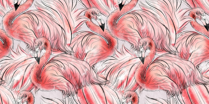 Seamless pattern with flamingo, watercolor.