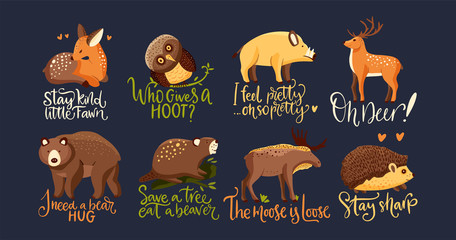 Slats personalizados com sua foto Hand drawn forest animal vector set in a flat style. Woodland cartoon icon funny collection with funny lettering joke quotes moose and hedgehog. Bear, wild boar, fawn deer, owl and beaver fauna.