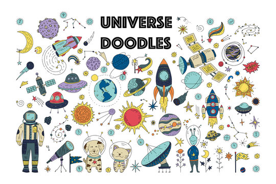 Big universe galaxy space doodle vector set. Astronaut man, animals with planets, comet, spaceship, satellite and star icon collection.