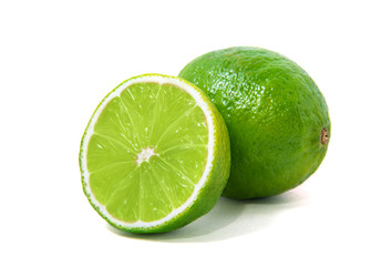 Fresh lime isolated on white Wall mural
