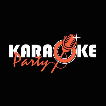 karaoke party emblem with microphone isolated on black background