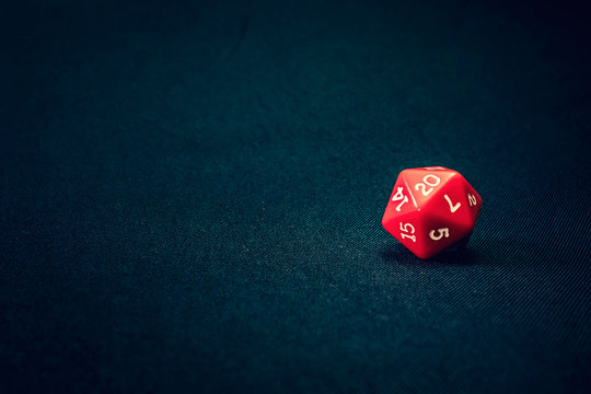 20 sided red die for games