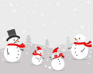 Vector of Snowman's family playing in the snow.On a gray background