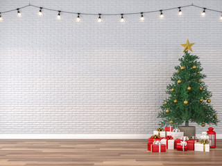 Empty room with wooden floors The walls are white bricks. Decorated room with christmas trees and gift box decorated wall with string light like a party event 3d render