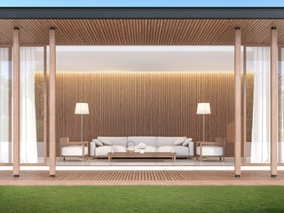living room in modern contemporary style 3d render,The walls are decorated with wood. Decorated with white fabric sofa The front of the room has a wooden balcony and a green lawn.