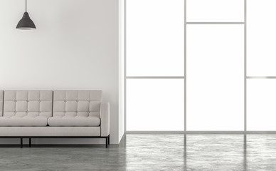 Minimal loft style living room 3d render.There are concrete floors,white walls.decorated with white fabric furniture,The rooms have large windows. natural light shines into the room.