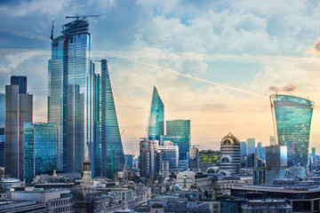 Zelfklevend Fotobehang London City of London view, business, banking and office area. London, UK