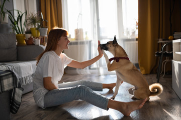 Woman giving treat to dog during training