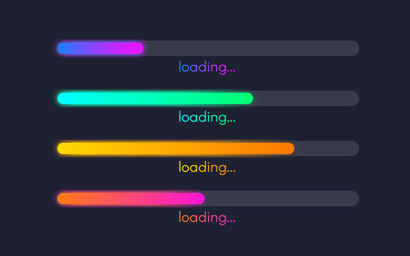 Loading bar set. Color gradient lines on dark backdrop. Progress visualization. Color web design elements. Loading status collection. Vector illustration