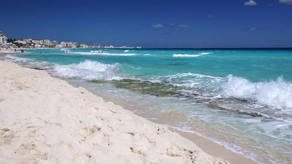 Fototapete - Caribbean sandy beach with turquoise water. Resorts along coastline. Summer holidays. Travel destinations