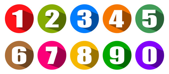 Modern colorful numbers button set multicolored – stock vector Papier Peint