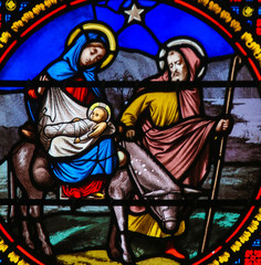 Wall Mural - Stained Glass in Notre-Dame-des-flots, Le Havre - Flight to Egypt