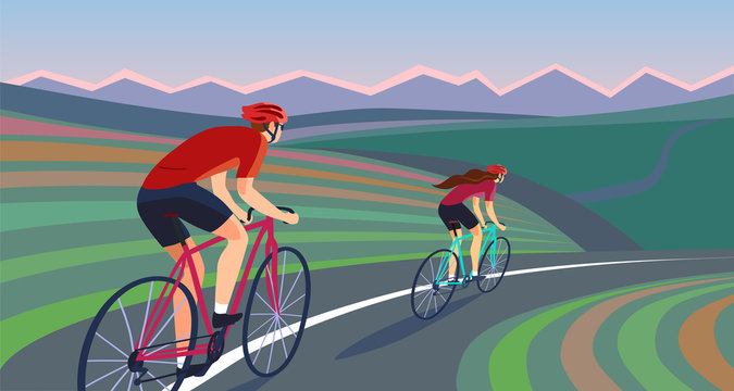 Pair of cyclists on the road near the hills banner.