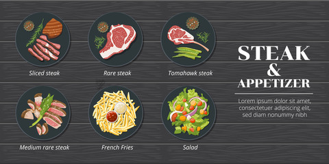 Steak menu set collection vector graphic clipart design