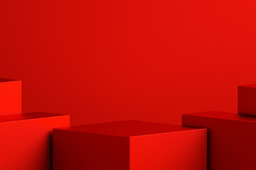Fototapeten Rot kubanischen Abstract minimal scene background with geometric forms, can be used for commercial advertising.