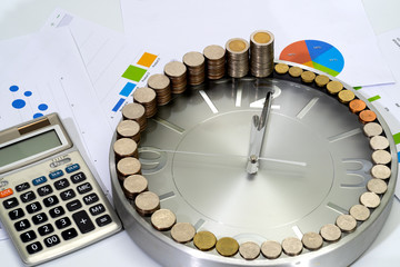 Money stack step up growing growth saving money on clock  Concept financial business investment.