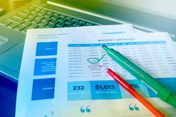 Corporate Business infograph checking sheet along with Laptop, Checking The Company Profit, Marketing & Finance Photo, Finding profit & Loss