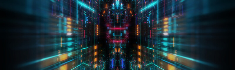 abstract futuristic technological background, floating circuits, charts, digits elements. Nano chip circuit, modern micro electrons on digital gadget board 3D render Wall mural